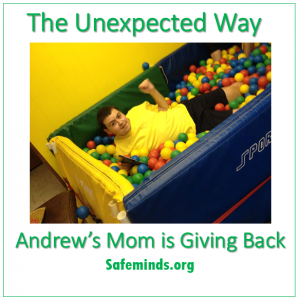 """ending another to my friend's husband who stood between me and my raging son at an autism-friendly Broadway Play concession stand during intermission last week, letting Andrew dig his nails into his arm, before managing to calm Andrew down."""""""
